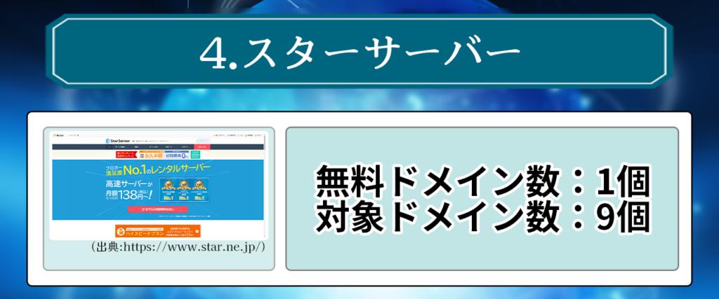 4.スターサーバー 無料ドメイン数:1個 対象ドメイン数:9個